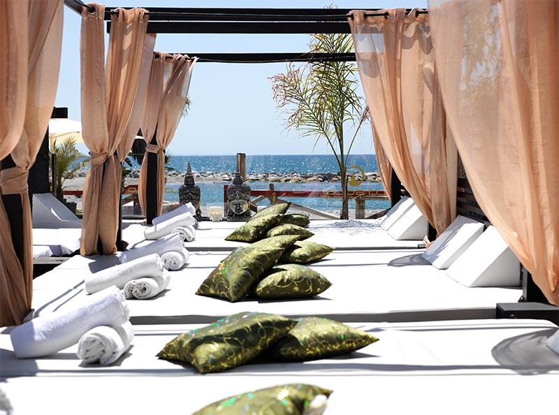 Pool Deck And Cabana Beds In Puerto Banus Beachclub