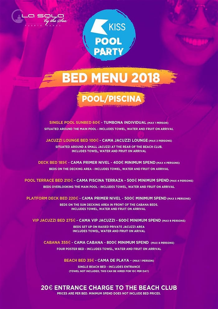 KISS Pool Party Marbella -  Beds price list