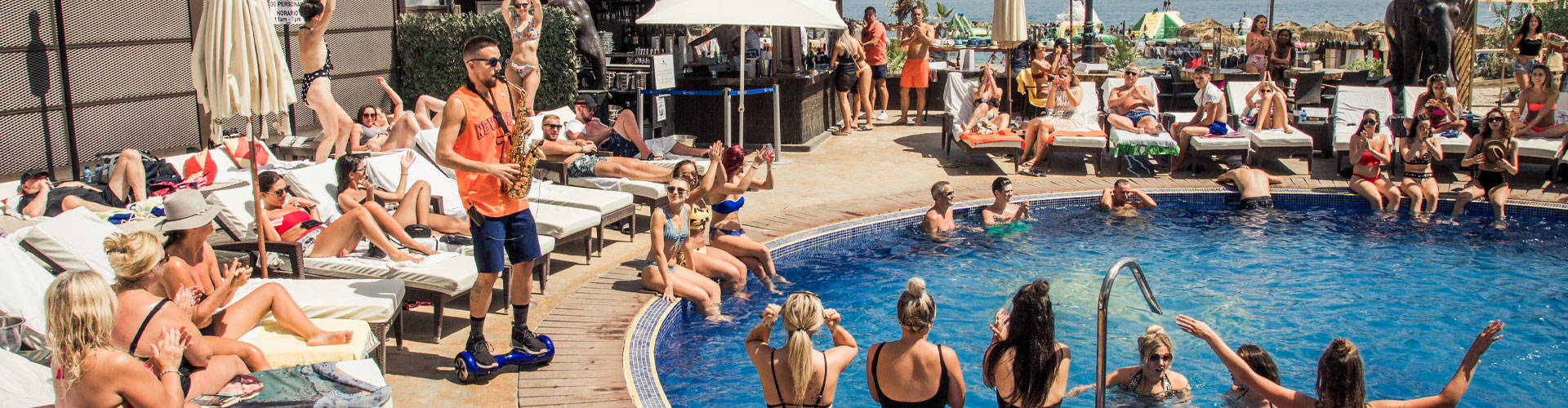 Party on the beach in Puerto Banus at La Sala by the Sea