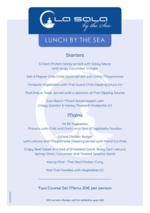 La Sala by the Sea Set Menu on the Beach