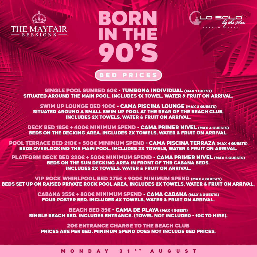 Born in the 90's - Marbella Pool Parties