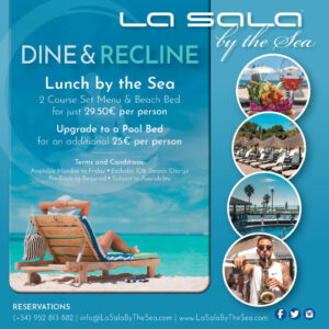 Beach bed and set lunch offer in Marbella