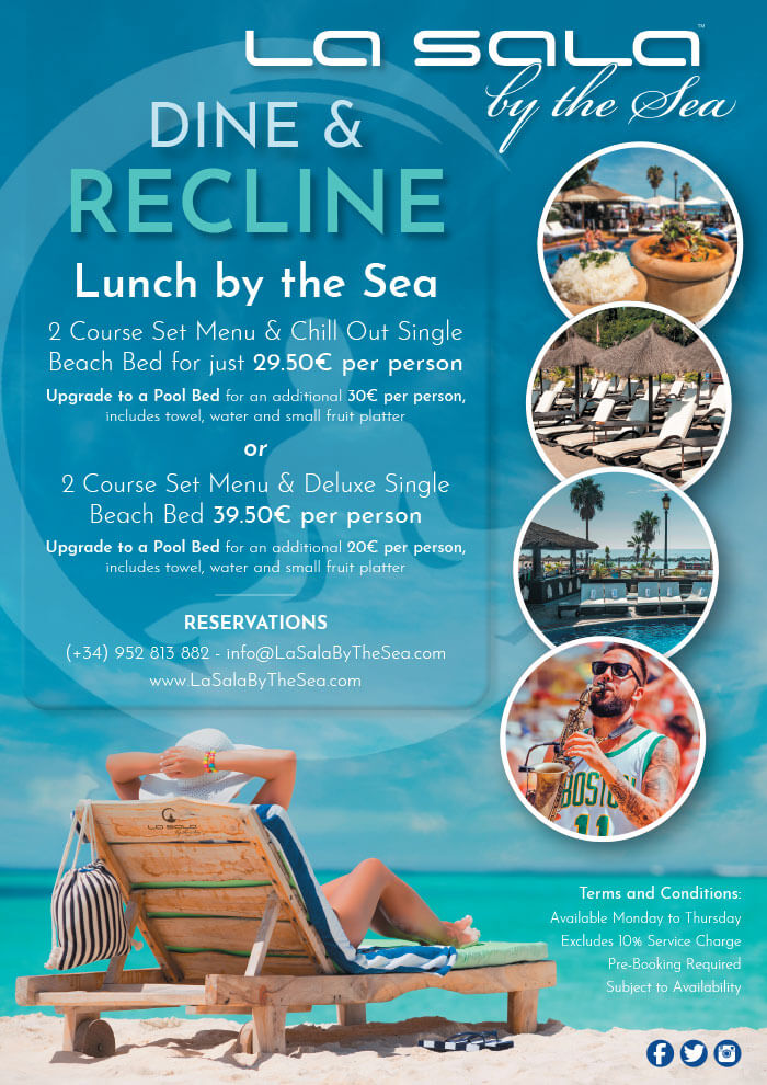 Set lunch with beach bed in Marbella